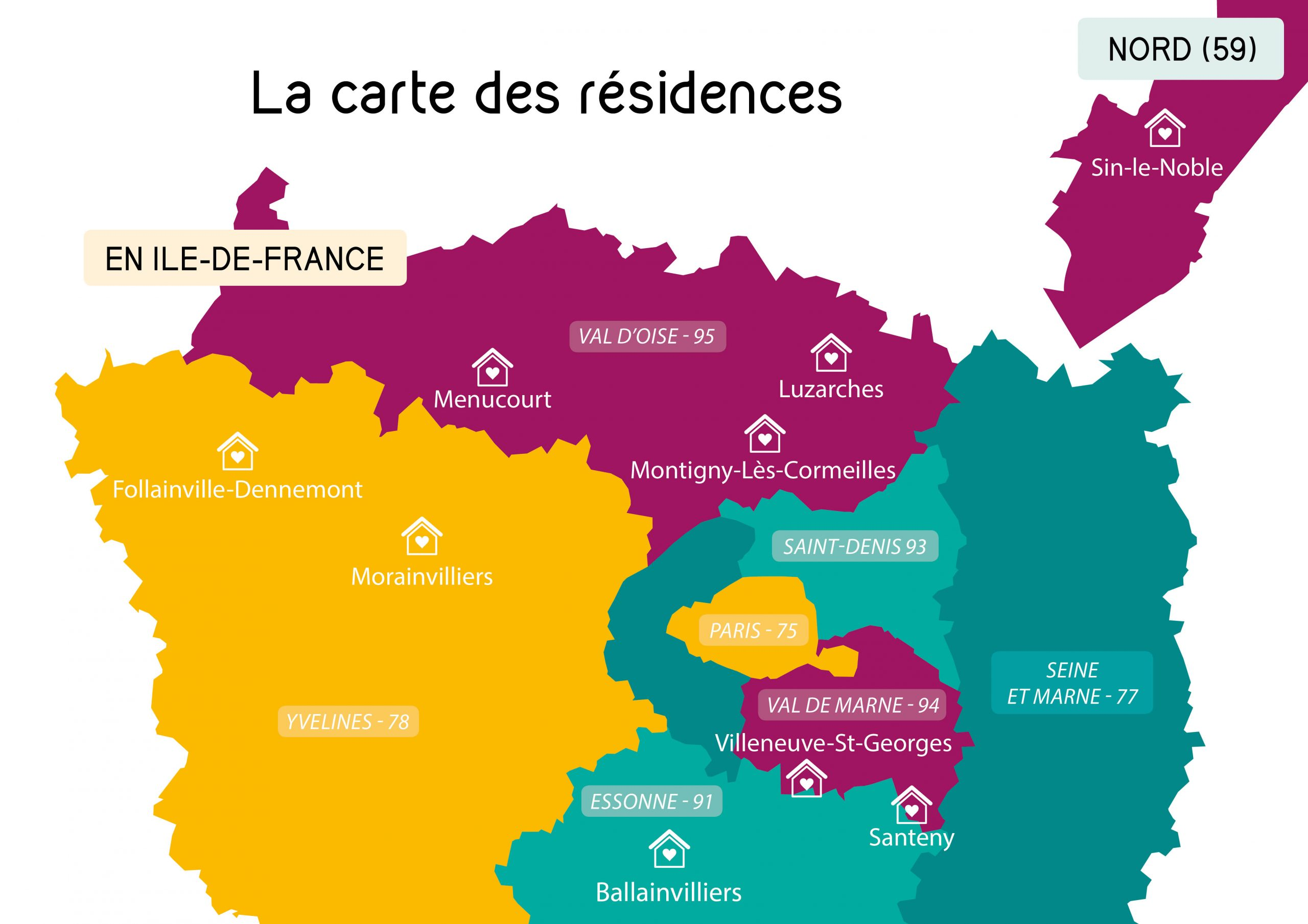 La carte de nos résidences - Marianne Solidarités
